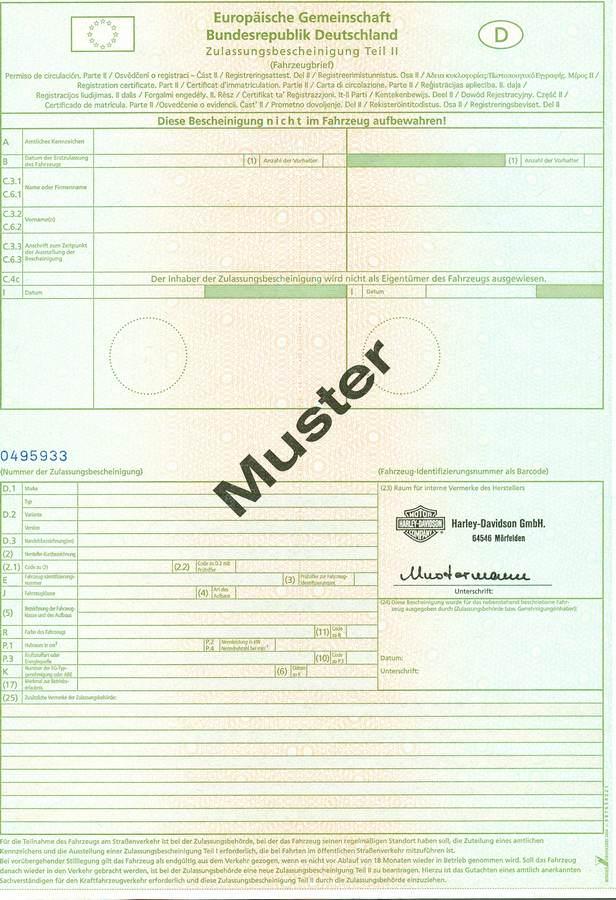 dowód rejestracyjny niemiecki część II