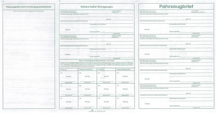 stary niemiecki dowód rejestracyjny