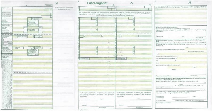 Niemiecka karta pojazdu - druga strona