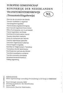 Wzór Holenderskiego tranzytowego dowodu rejestracyjnego (tenaamstellngsbewijs) awers