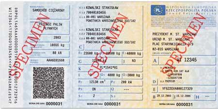 Polski dowód rejestracyjny - wzór